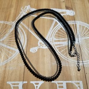 Jewelry - Fantastic multi-way black silver beaded necklace